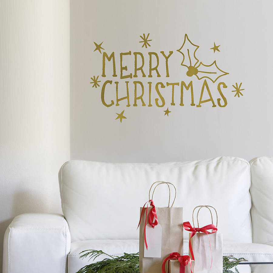 merry christmas wall sticker quotes living room bedroom removable home decoration vinyl wall decals interior decor decal zb095 in wall stickers from home - Christmas Wall Decal