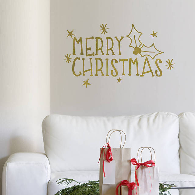 U0027Merry Christmasu0027 Wall Sticker Quotes Living Room Bedroom Removable Home  Decoration Vinyl Wall Decals