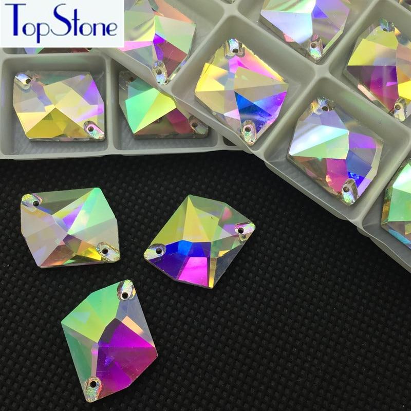 Forma cristalina AB Forma cósmica Costura pedrería Cristal Cristal Coser en piedra Flatback Vestido de decoración 11x14,13x17,16x21,21x27mm