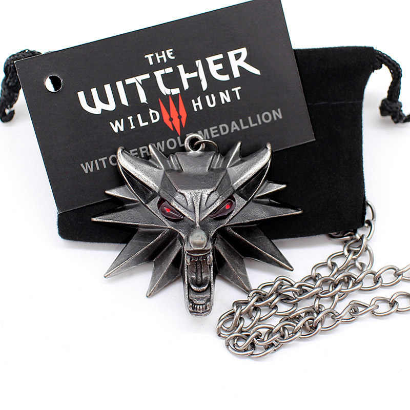 Ведьмак 3 ожерелье-подвеска животное волк головное ожерелье 1 сумка 1 карта оригинальное качество оптовая продажа