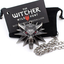 the witcher 3 pendant necklace animal wolf head necklace 1 bag 1 card original quality wholesale(China)