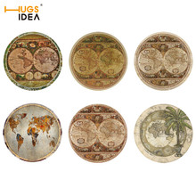 Hugsiera Retro mapa vintage impresión 3D manteles individuales decoración del hogar manteles de mesa aislamiento térmico cocina taza de té almohadillas posavasos 6 unids/set
