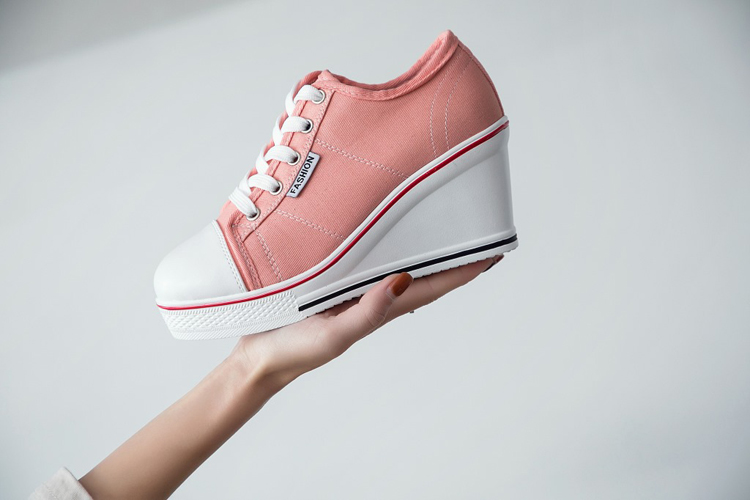 b3124fc3a650 LORFRCIN Women Canvas Shoes 8cm Height Increasing Platform Shoes ...