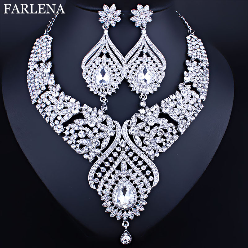 Hesiod Indian Wedding Jewelry Sets Gold Color Full Crystal: Moroccan Style Bridal Necklace Earrings Set With Full AB