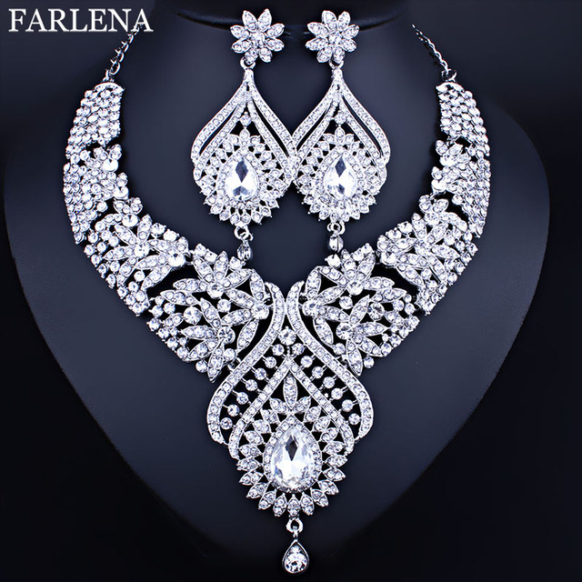 Moroccan Style Bridal Necklace Earrings Set With Full AB