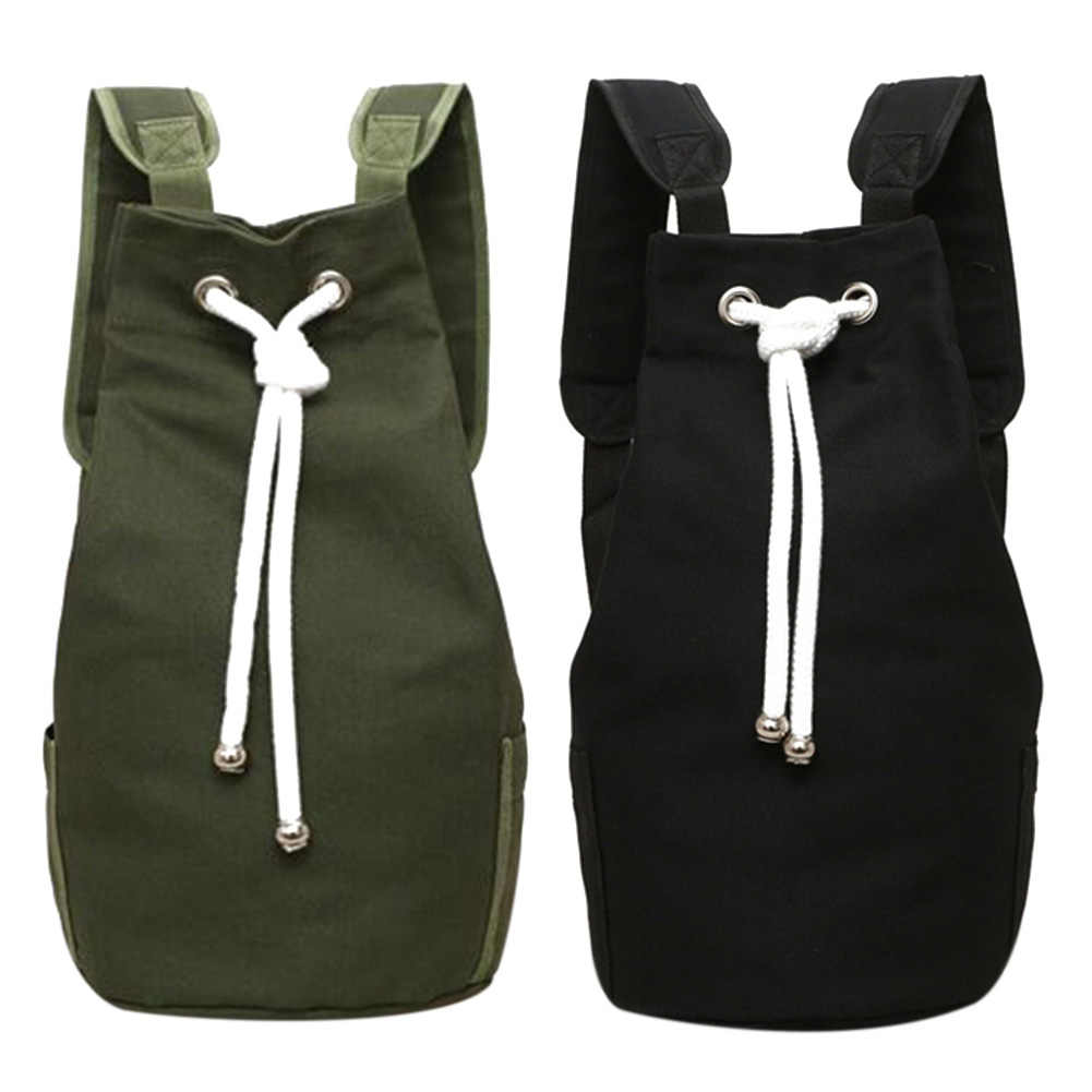 ... Casual Men Canvas Backpack Large Capacity Barrel Backpack Army Green  String Drawstring Daypack for Men Back ... 672ff28296