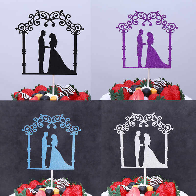 Glitter Cake Topper Bride Groom Cake Cupcake Toppers Wedding Cake Insert Flags For Kids Birthday Party Cake Toppers Decor 9style