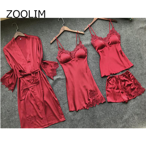 Image 2 - ZOOLIM 4 ชิ้นผู้หญิงชุดนอนชุดซาตินชุดนอนผ้าไหมชุดนอนชุดนอนสปาเก็ตตี้สายคล้องคอ Sleep Lounge Pijama กับแผ่นอก