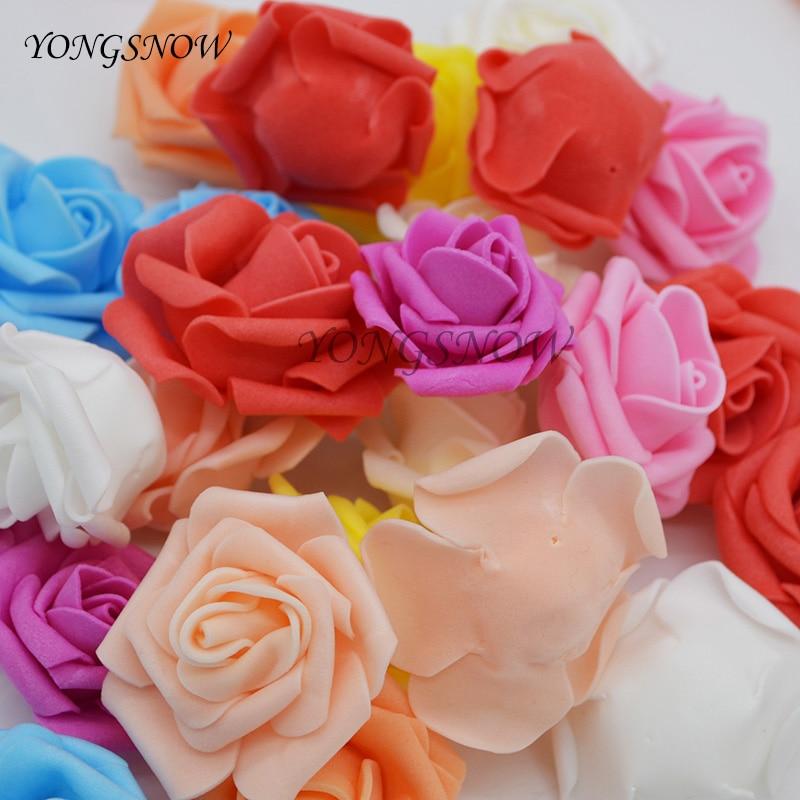 20pcs/lot 4cm Artificial Foam Rose Head Wedding Decoration DIY Wreaths Craft Gift Festive Party Scrapbooking Home Supplies 7Z