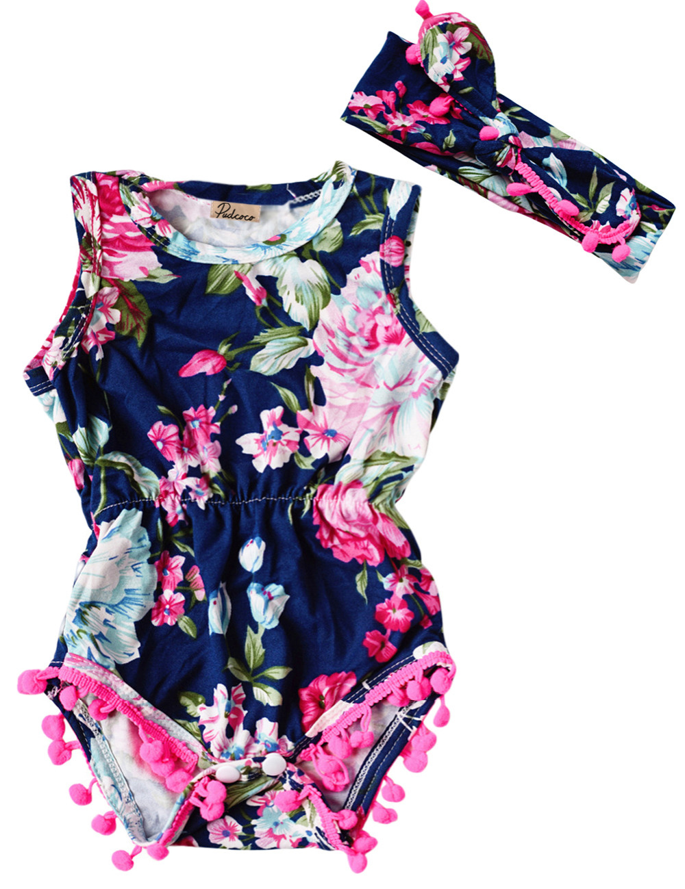 2PC Toddler Newborn Baby Girls Floral Romper Jumpsuit Sunsuit +Headband Cotton Outfits Girls Clothes Set