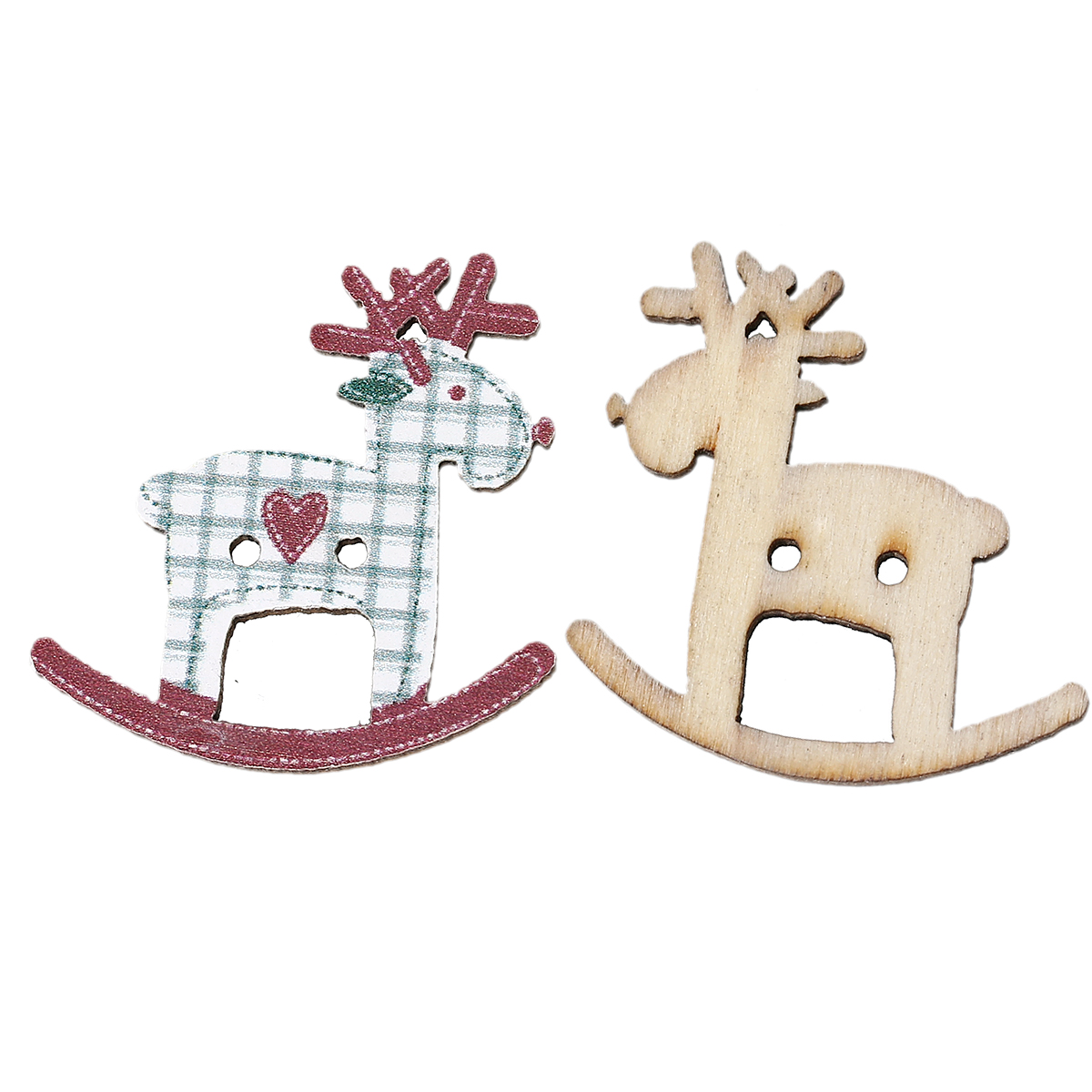 Wood Sewing Button Scrapbooking Christmas Reindeer Dark Red Two Holes Lattice Pattern 29x 28mm,5 PCs 2015 New