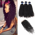 8A Grade Brazilian Virgin Hair With Closure Kinky Curly Virgin Hair With Closure Ms Lula Human Hair With Closure And Bundles
