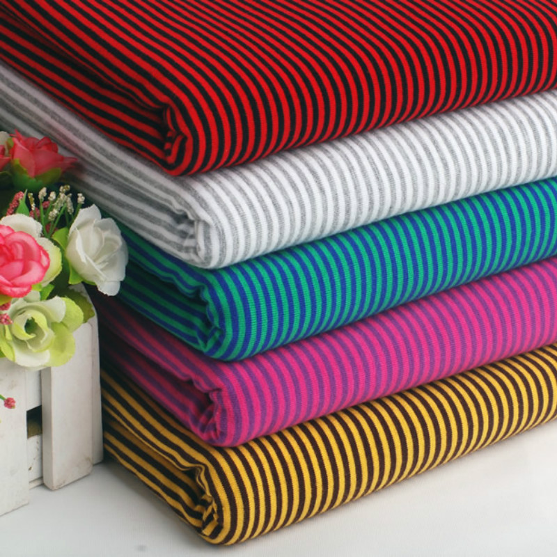Clearance light weight Jersey stripes Cerise Pink 1cm candy stripe fabric meter