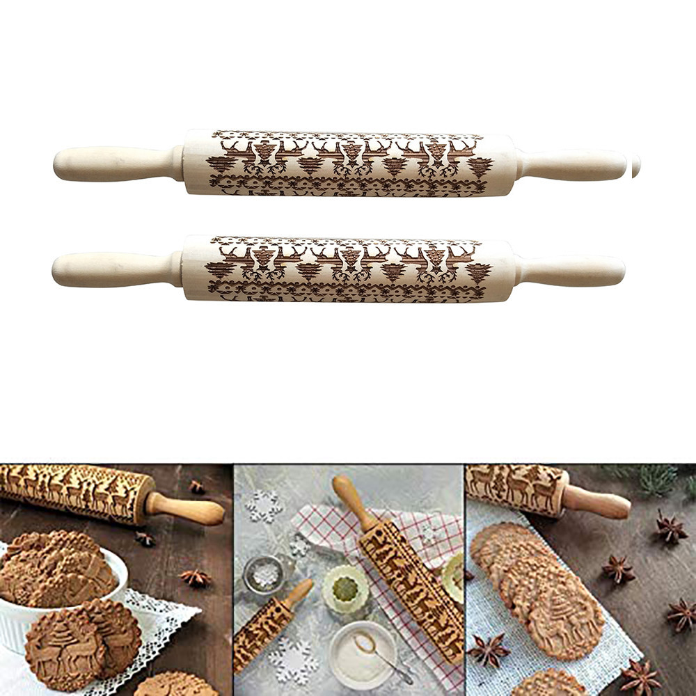 Wooden Handle Rolling Pin 2pcs Christmas Rolling Pin