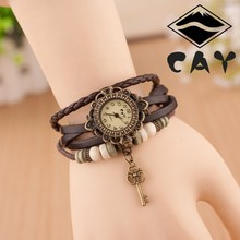 Vintage Bracelet Wrist Watch Ladies Quartz Top Brand Womens Watches With The Wooden Beads and Little Key Charm T10000007