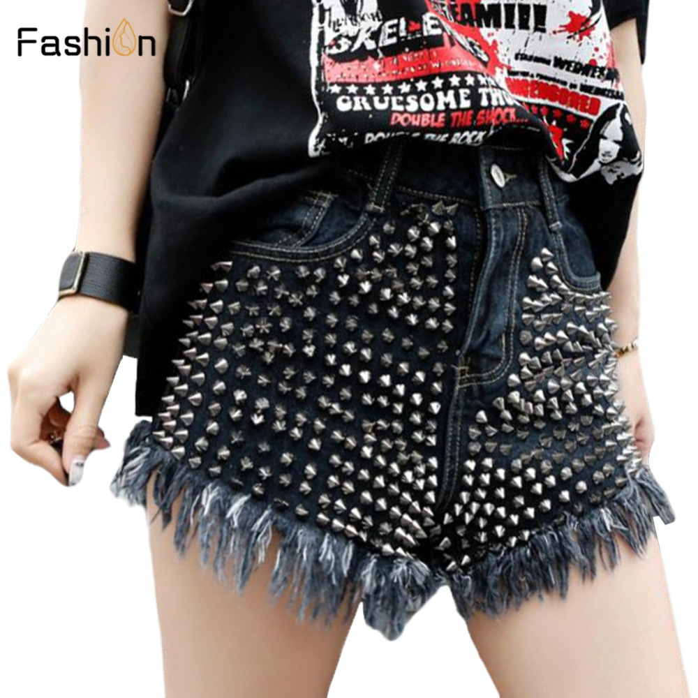 2019 Women Summer Denim   Shorts   Vintage High Waist   Short   Cuffed Jeans Girls Rivet Jeans Street Wear Ladies Sexy Booty   Shorts