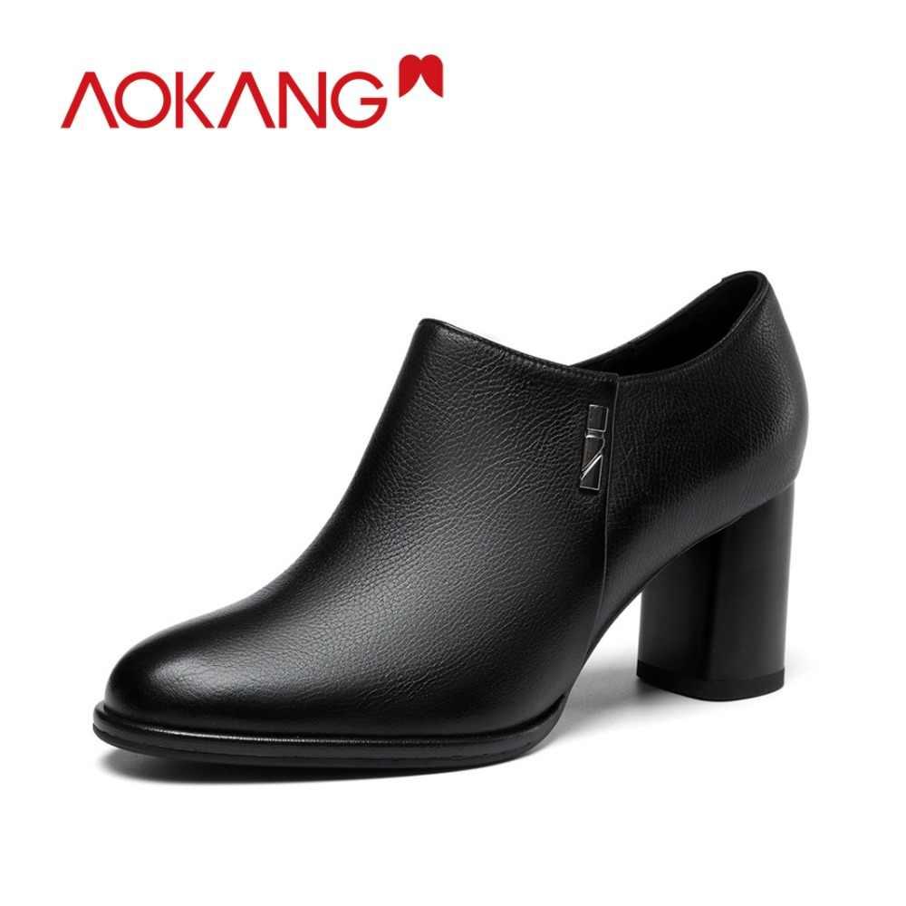 9645c3713733 AOKANG/2018 Новое поступление Осенняя женская обувь натуральная кожа Обувь  на высоком каблуке Женская обувь