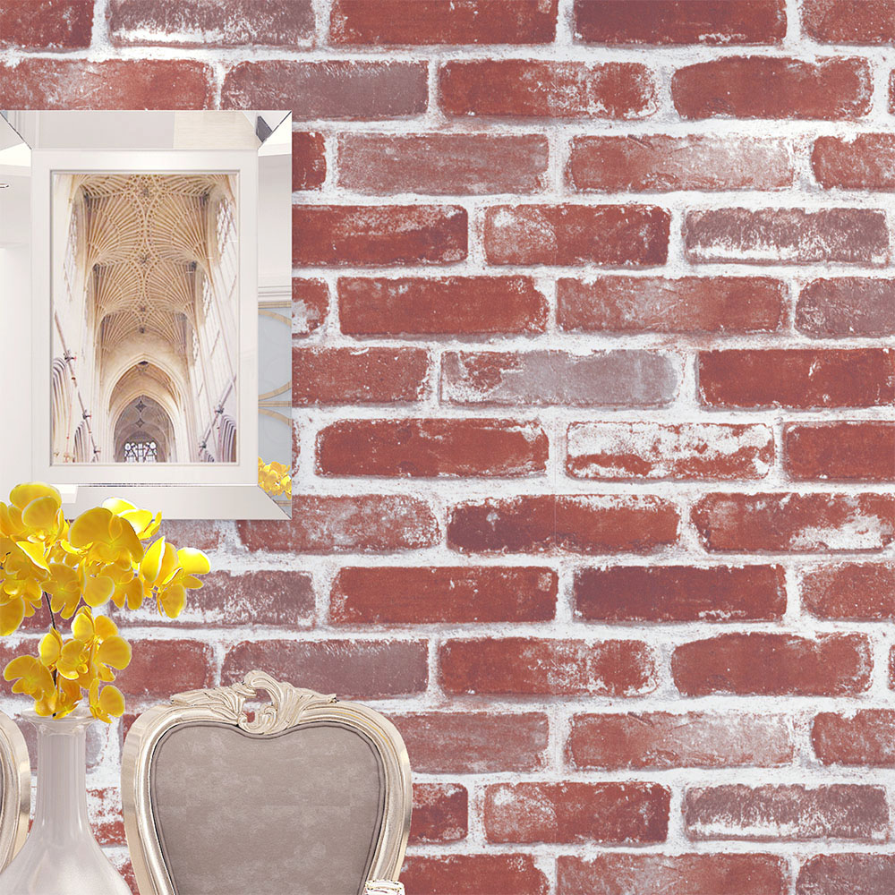 HaokHome Vintage Faux Brick Wallpaper Rolls Red/Brown/Wheat Rust Brick Stacked Photo Paper Murals Home Kitchen Bathroom Wallpape haokhome brick wallpaper rolls dark gray black blue distressed murals home kitchen bathroom decoration 20 8 x 32 8ft