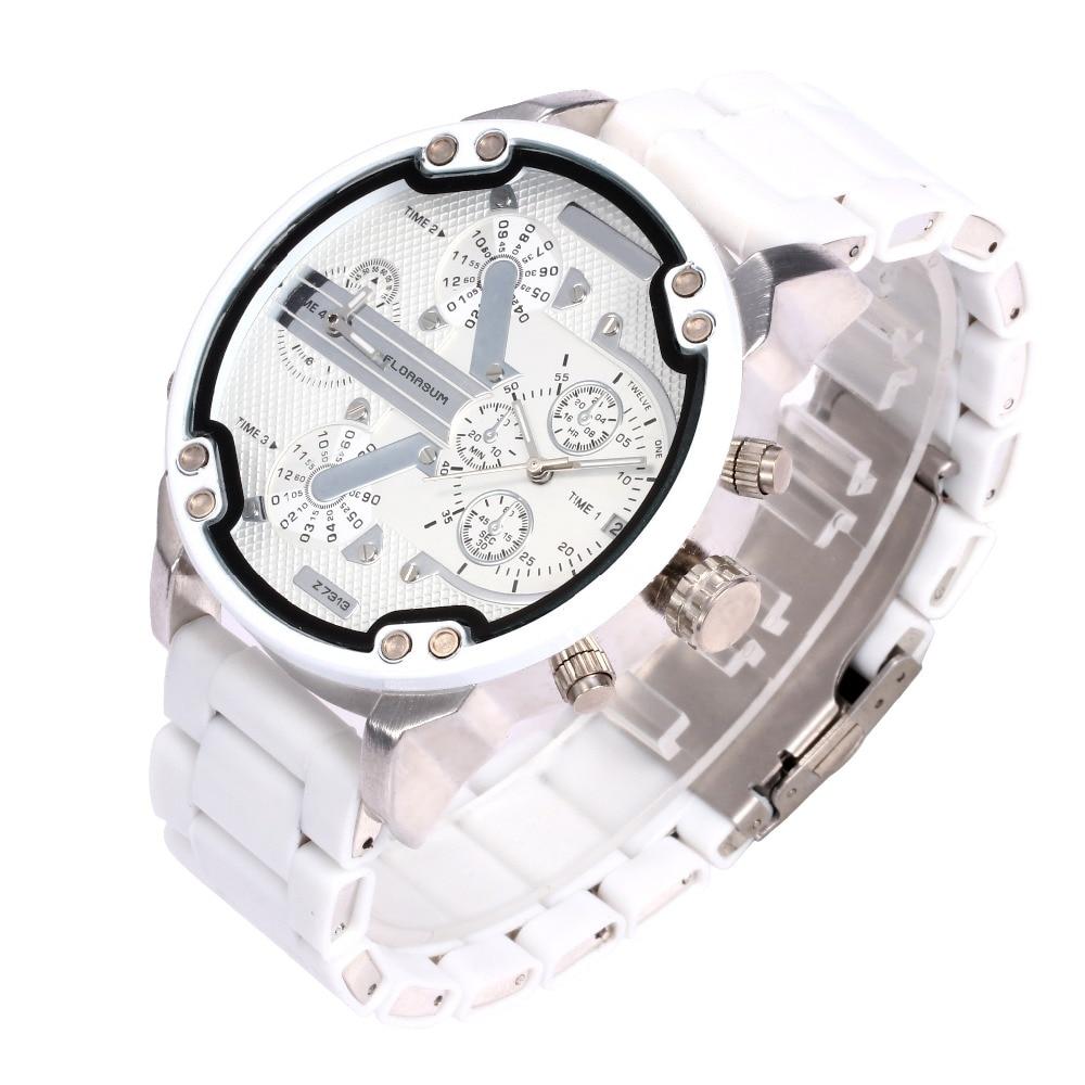 Watch Men Luxury Brand Military dz Watch Wrist military Big Dial rubber Stainless Steel Silicone White Aviator Quartz Watch 2018