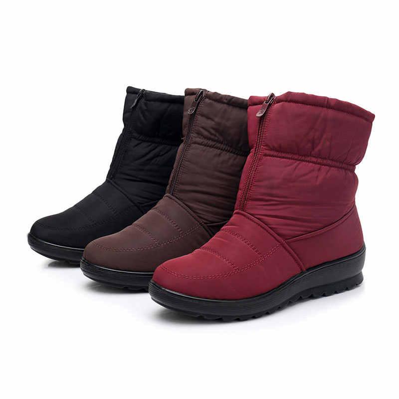 Phụ nữ khởi động giày mùa đông phụ nữ tuyết khởi động với dây kéo sang trọng bên trong botas mujer không thấm nước chống trượt nữ booties size41 WSH3146