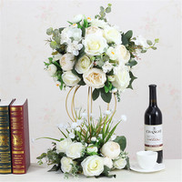 Artificial Flower With Stand Ball Silk Flower Rack Craft Flower Wedding Centerpiece Home Room Decoration Party Supplies 12 Color