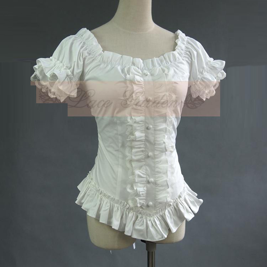 Summer women white short shirts Vintage Victorian Pleated lace Vendaje camisas Damas blusa gótica disfraz lolita