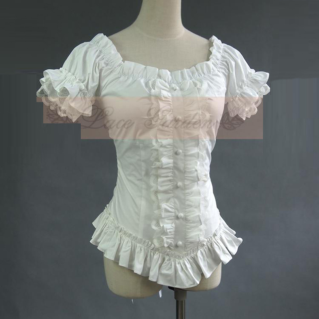 Summer women white short shirts Vintage Victorian Pleated lace Bandage shirts Ladies gothic blouse lolita costume
