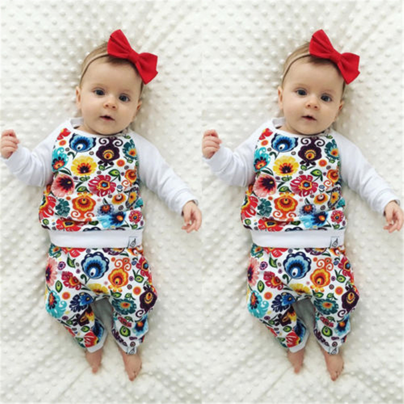 Baby Girl Flower Clothes Set Newborn Baby Girls Bebes Floral T-shirt Tops Pants 2017 New Arrival Fashion Outfit Kid Clothing Set