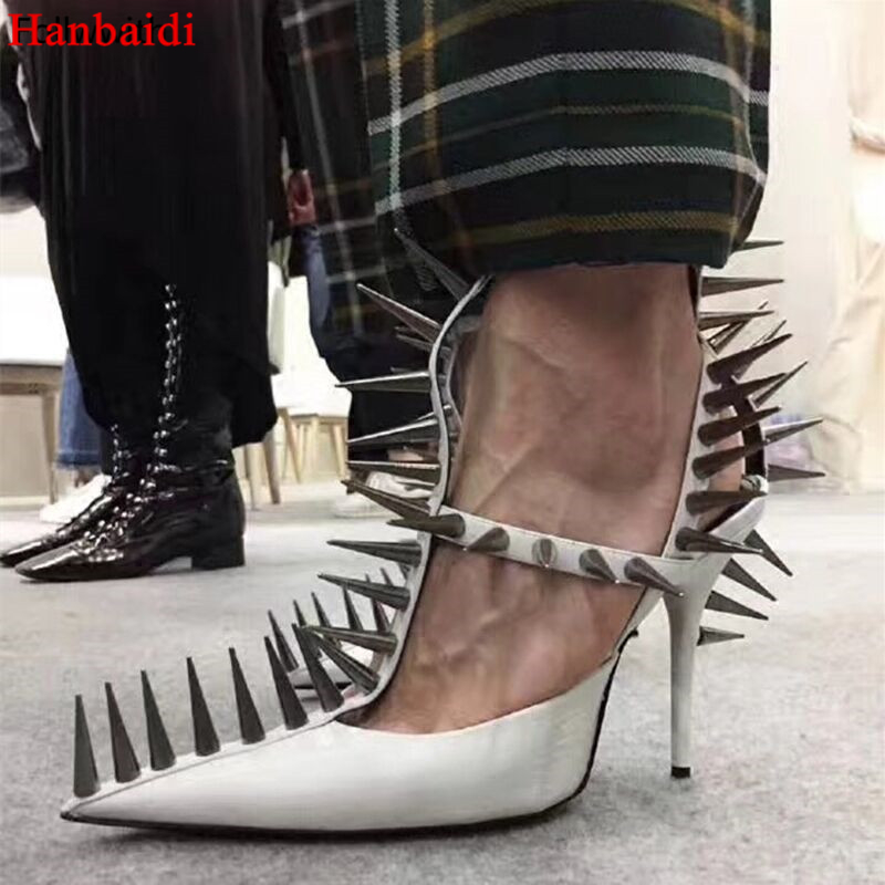 Hanbaidi Luxury Spiked Leather T-Strap Pumps Black White Red Sandals Gladiator High Heels Pointed Toe Rivets Studed Woman Shoes цены онлайн