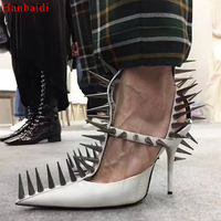 Hanbaidi Luxury Spiked Leather T Strap Pumps Black White Red Sandals Gladiator High Heels Pointed Toe Rivets Studed Woman Shoes
