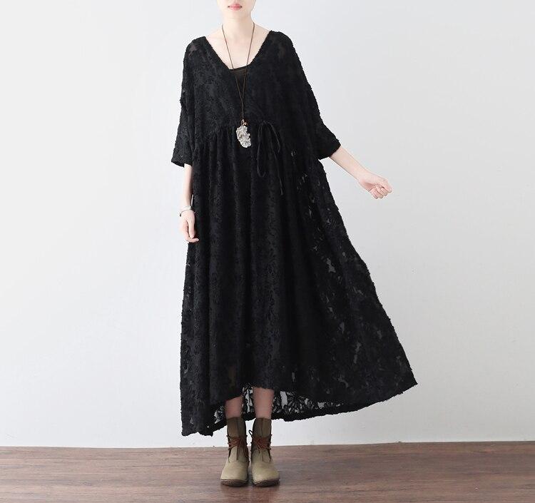 2017 automne noir femmes mousseline de soie lâche robes rétro plus size fashion design lady Arts style bref robe Manches Robes
