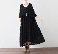 2017 jesień czarnych kobiet jedwabny szyfon luźne sukienki retro plus size projektowanie mody pani Sztuki stylu krótka sukienka Rękawy Vestidos