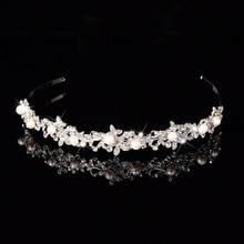 Romantic Shiny Crystal Rhinestone Bridal Wedding Hair Accessories Tiara Bridesmaid Headbands Crown Pearl Hairwear Jewelry Gift