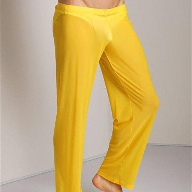 520511c435f US $9.23 15% OFF Men Transparent Loose Mesh Lounge Pants Loose fitting  Pants Pyjama Trouser Sleep Pant Erotic Lingerie FX1016-in Sleep Bottoms  from ...