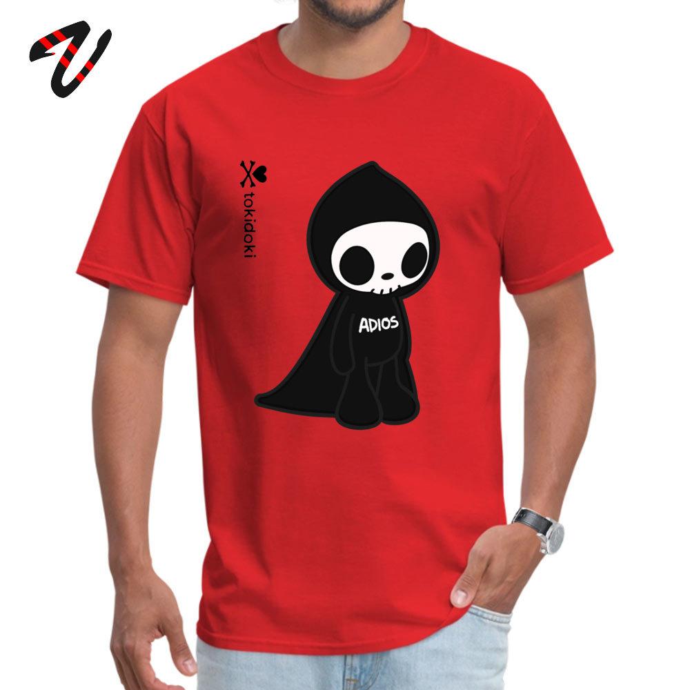 Leisure ADIOS TOKIDOKI Design Short Sleeve Summer Autumn Tees Funny Round Collar Pure Cotton Tops Tees Men T Shirts ADIOS TOKIDOKI 12768 red