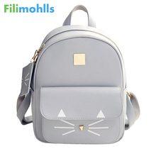 Лидер продаж Кот Печать Рюкзак из искусственной кожи мини-рюкзаки Для женщин школьные сумки для девочек-подростков мешки детей рюкзак мешок S1304