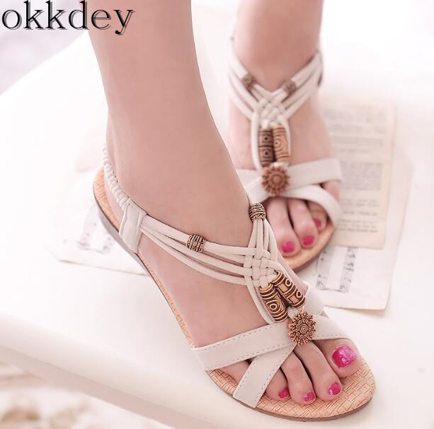 Woman Sandals Flat Bohemian Beach Fashion New Hot Slope Hollow Solid with Female A044