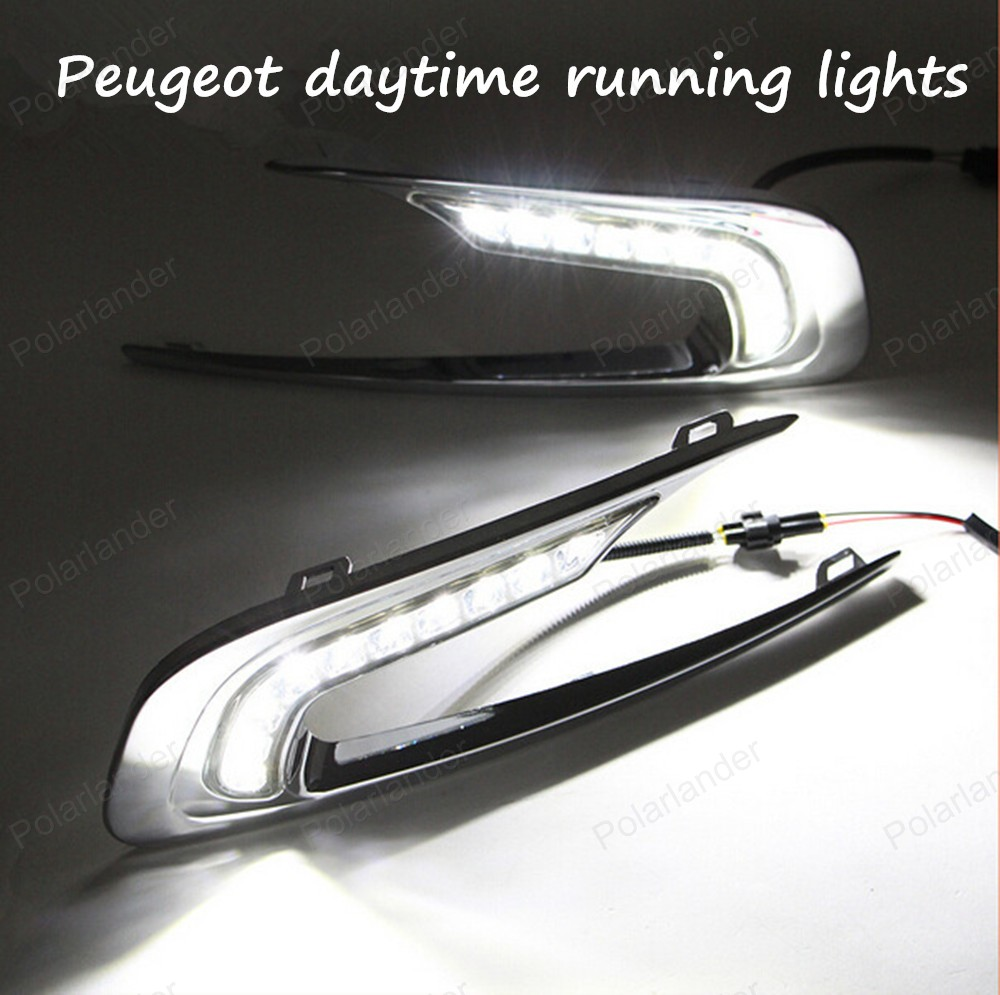 High quality! For Peugeot 2008 daytime running light Fog lights ! DRL LED car fog lights