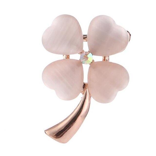Moda Opal Pietra Four Leaf Clover Spilla Spille Oro E di Colore Argento Accessori di Abbigliamento Regalo Di Compleanno