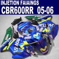 Moldeo por inyección de la motocicleta para Honda azul movistar carenados CBR600RR 2005 2006 CBR 600RR CBR600RR 05 06 carenado kits de carrocería