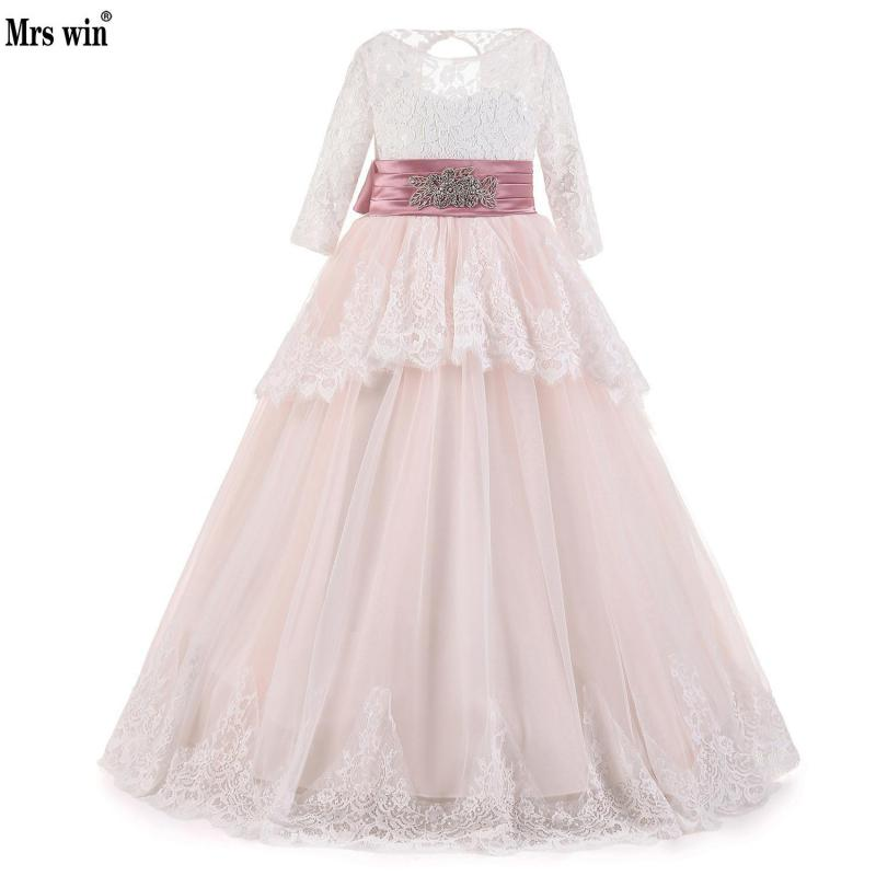 Real Image White Lace Flower Girls Dresses Ball Gown Floor Length Girls First Communion Dress Princess Dress With Pink Belt 2-14