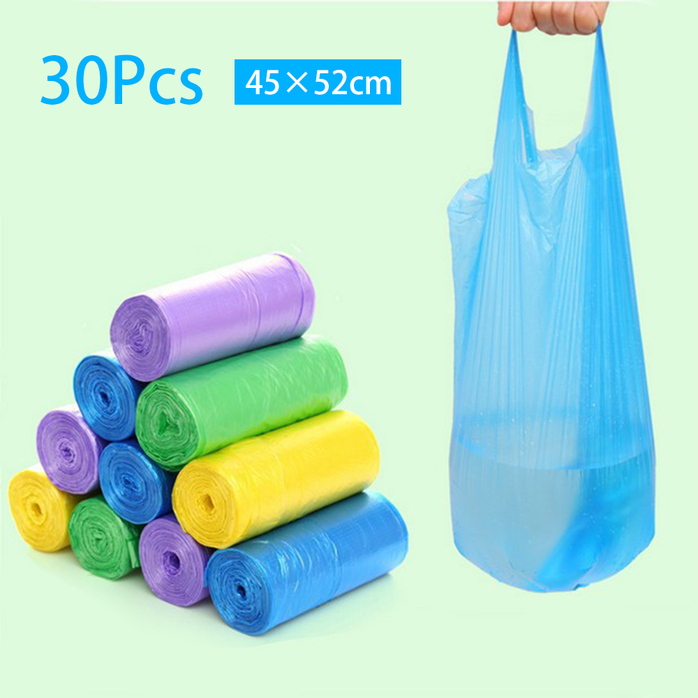 30Pcs Large Trash Bags Home Portable Vest Type Garbage Bag Kitchen Color Thickening Small Plastic Bags Dispenser Rubbish Bag