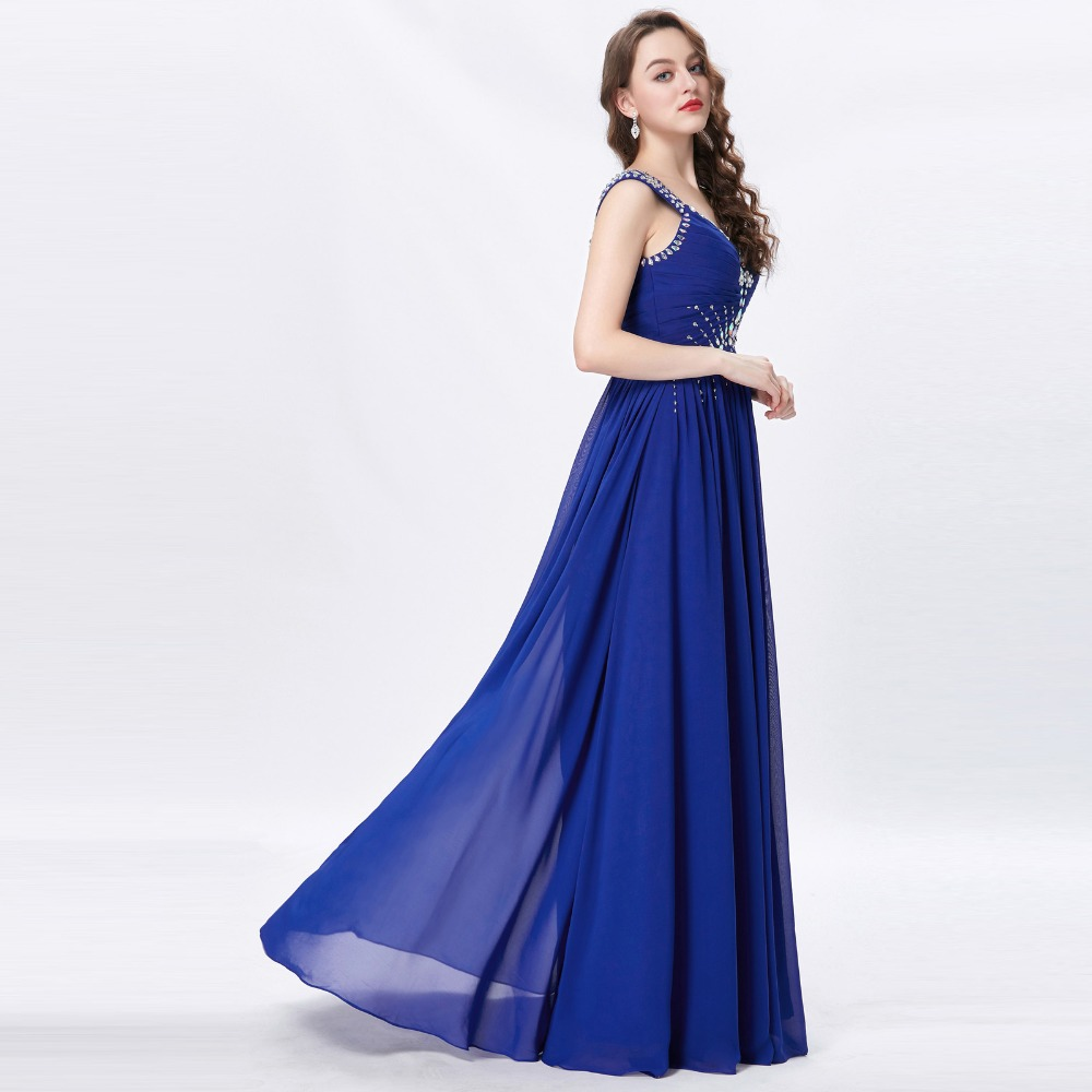 Grace Karin Womens Evening Dresses 2017 Chiffon Elegant Royal Blue Formal Dresses Evening Wear Beaded Long Wedding Party Gowns 8