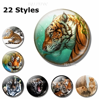 Tiger Art Fridge Magnets for Refrigerators Sticker Message Board Magnetic Creative 30mm Glass Cabochon Home Decor Gift for Son 1