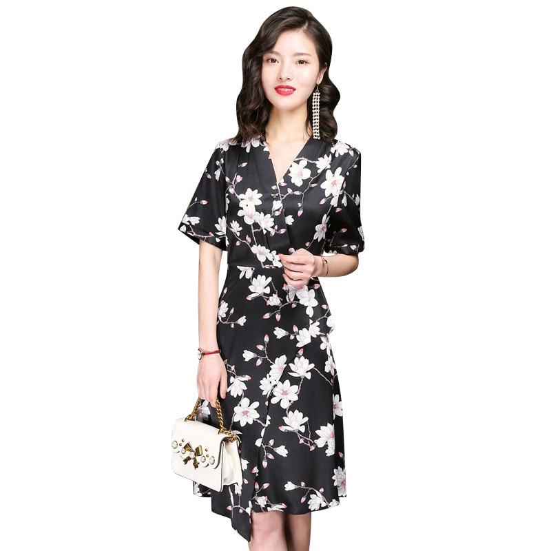 100% натуральный шелк спандекс Средняя платье V шеи Половина рукава Цветочный принт Размеры L, XL, XXL, XXXL