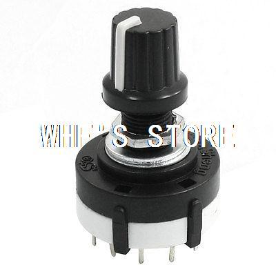 3P4T 3 Pole 4 Position Single Wafer Band Selector Rotary Switch w Knob uxcell kct 3x11 3 pole 11 position ceramic band channel rotary switch selector w knob