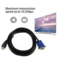 5PCS 3 Meters HDMI To VGA Cable 15Pin Adapter Male to Male Video 1024 x 768p High Definition Super Fast Transfer Rate