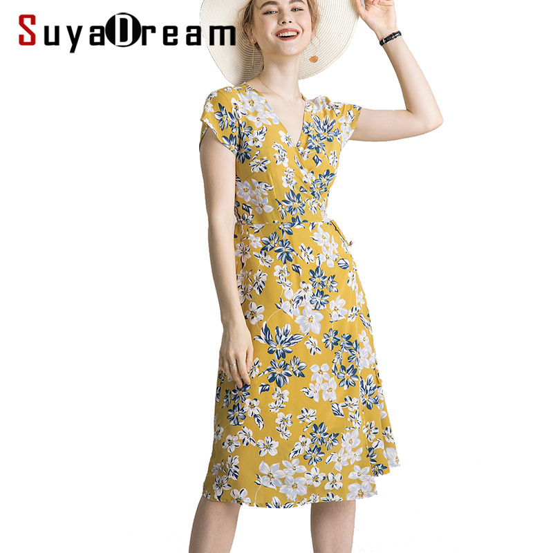 Women Dress 100%Natural Silk Crepe Belted Floral Printed V Neck Dresses For Women 2019 New Holiday Dress Yellow