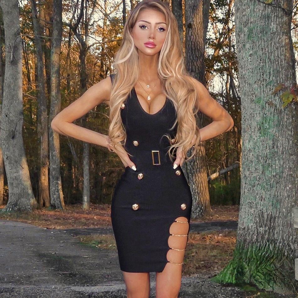 Seamyla 2019 New Summer Women Bandage Dress Sexy Black Hollow Out Club Dress Vestidos Sleeveless Celebrity