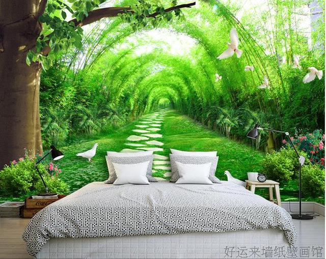 Custom Photo Wallpaper Green Bamboo 3D Stereo TV Background Mural Wallpaper  Bedroom Wallpaper